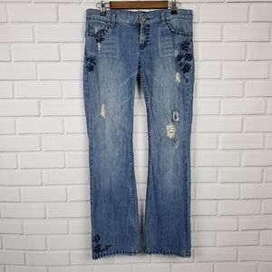 AE Embroidered Stretch Skinny Flare Blue Jeans 10R